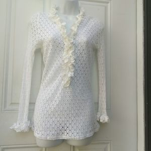 Anne Fontaine Perforated Ruffle Blouse